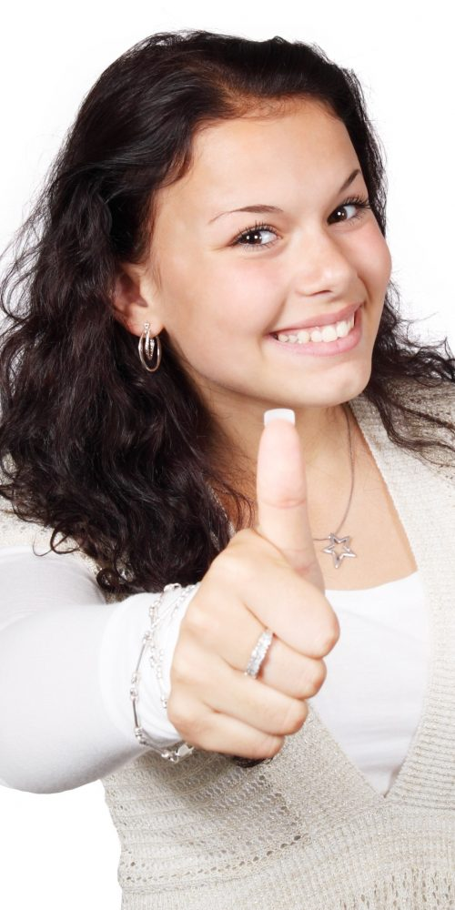 smiling-woman-wearing-white-and-beige-showing-thumbs-up-41373